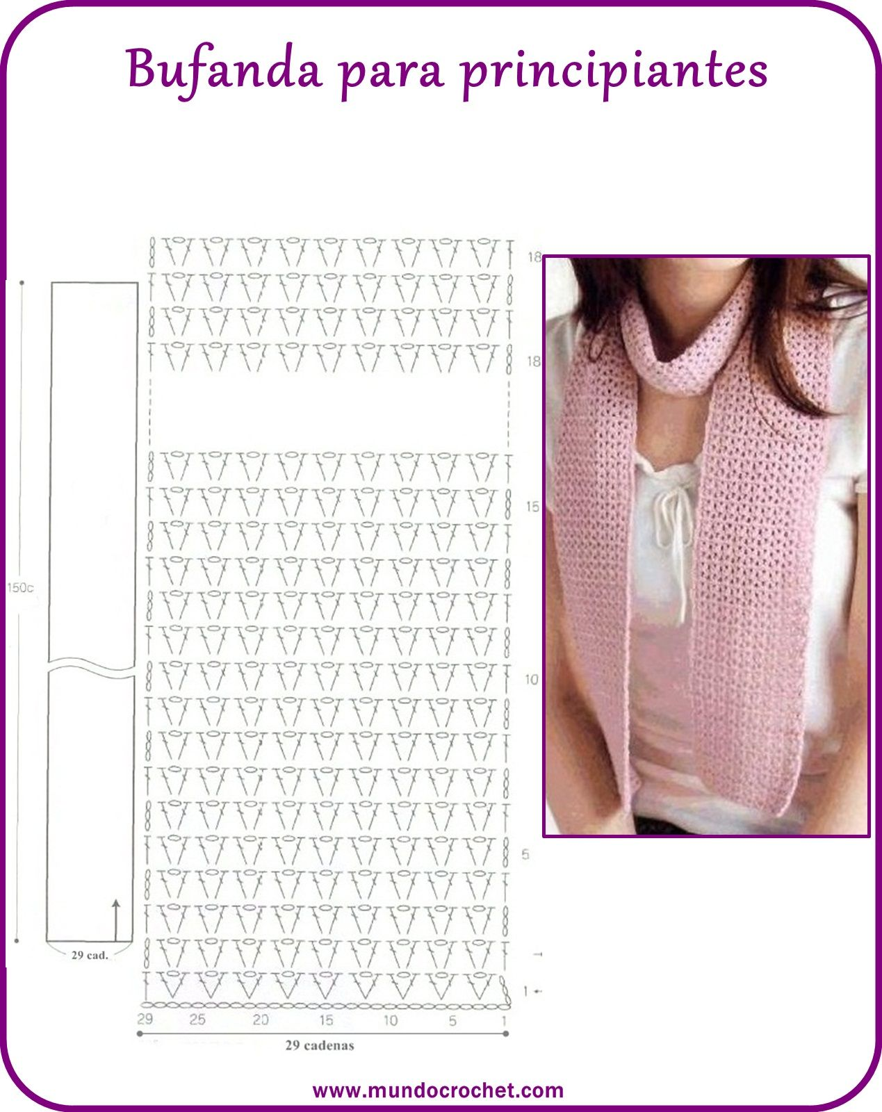 Scarf for beginners with diagram - Bufanda a crochet para ...