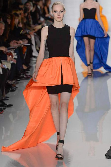 Michael Kors Fall 2013 RTW, love the color draping of the orange, and blue in the back!
