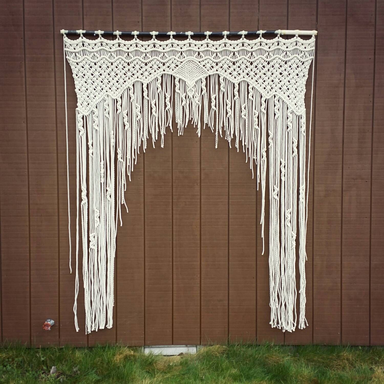 large macrame wedding arch bohemian curtain wall
