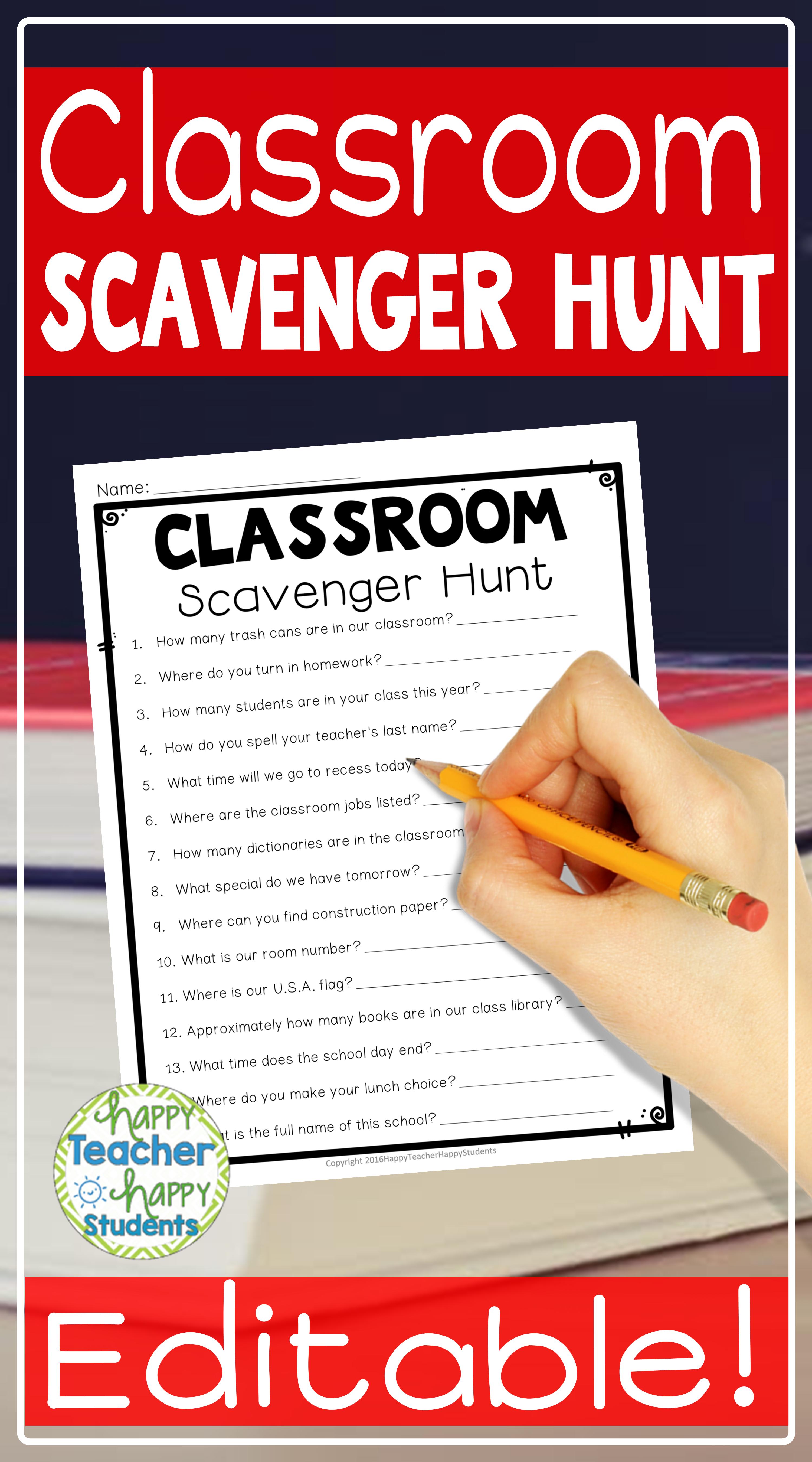 Classroom Scavenger Hunt Editable A Fun Back To School