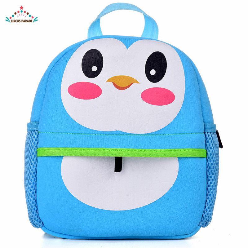 Cartoon penguin children's kindergarten double shoulder bag boy girl satchel #Affiliate