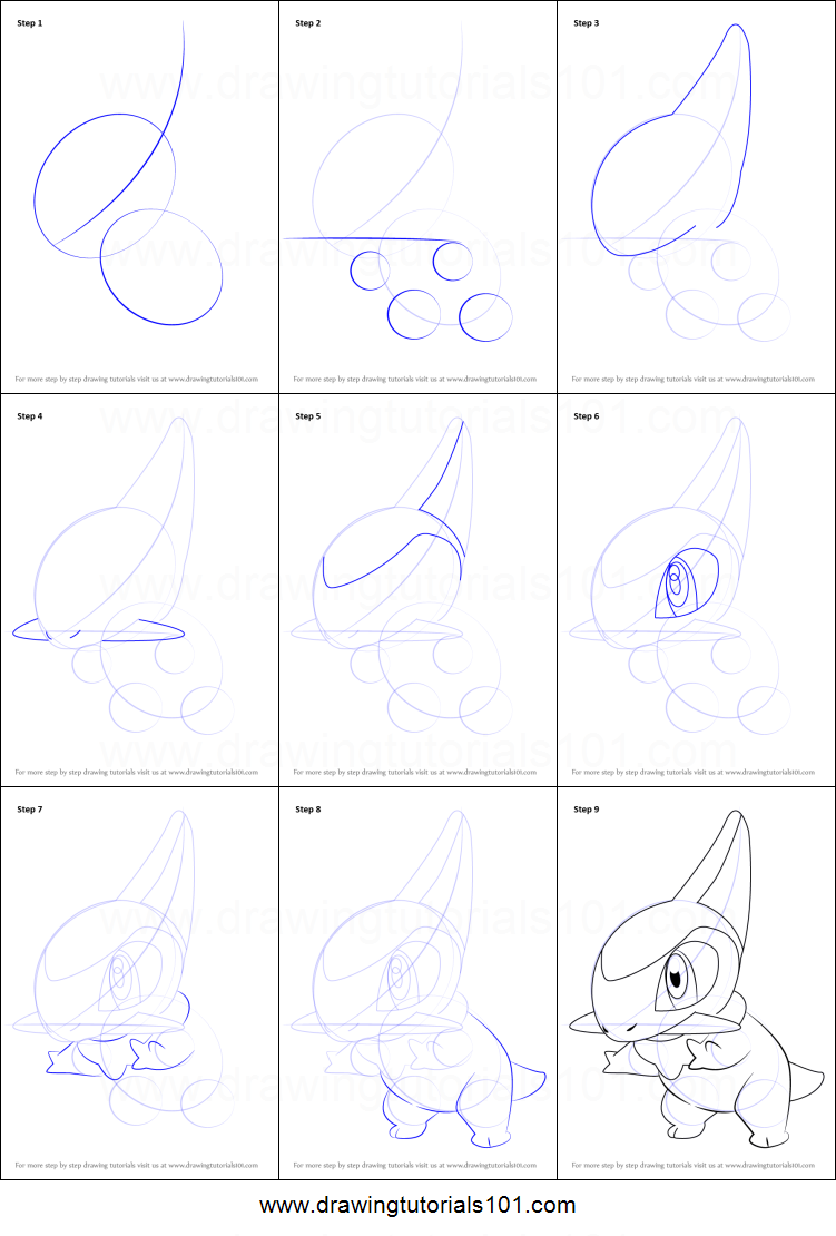 How to Draw Axew from Pokemon printable step by step drawing sheet : DrawingTutorials101.com