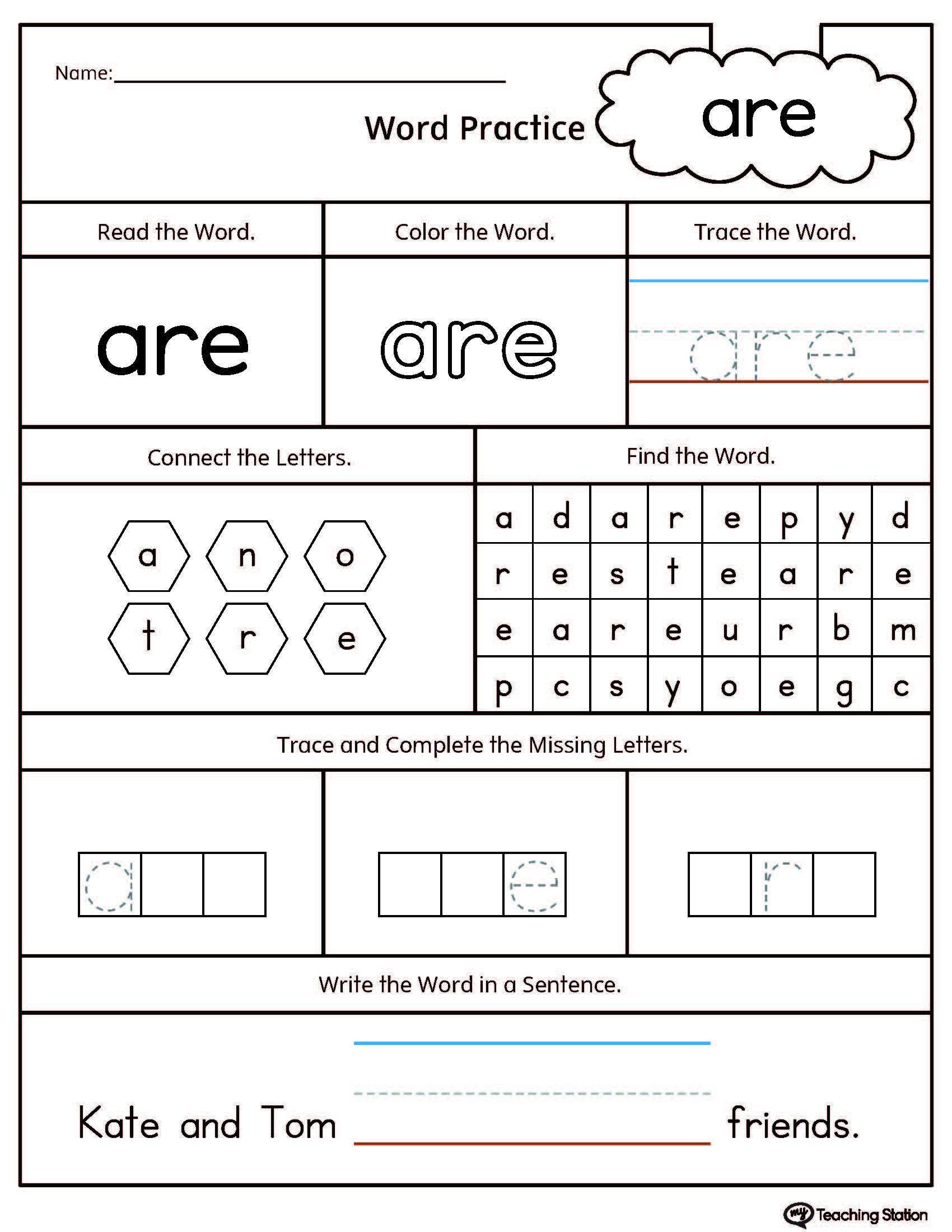 Number Word Worksheets For Kindergarten Worksheet For Kindergarten Sight Words Kindergarten Sight Word Worksheets Kindergarten Worksheets Sight Words
