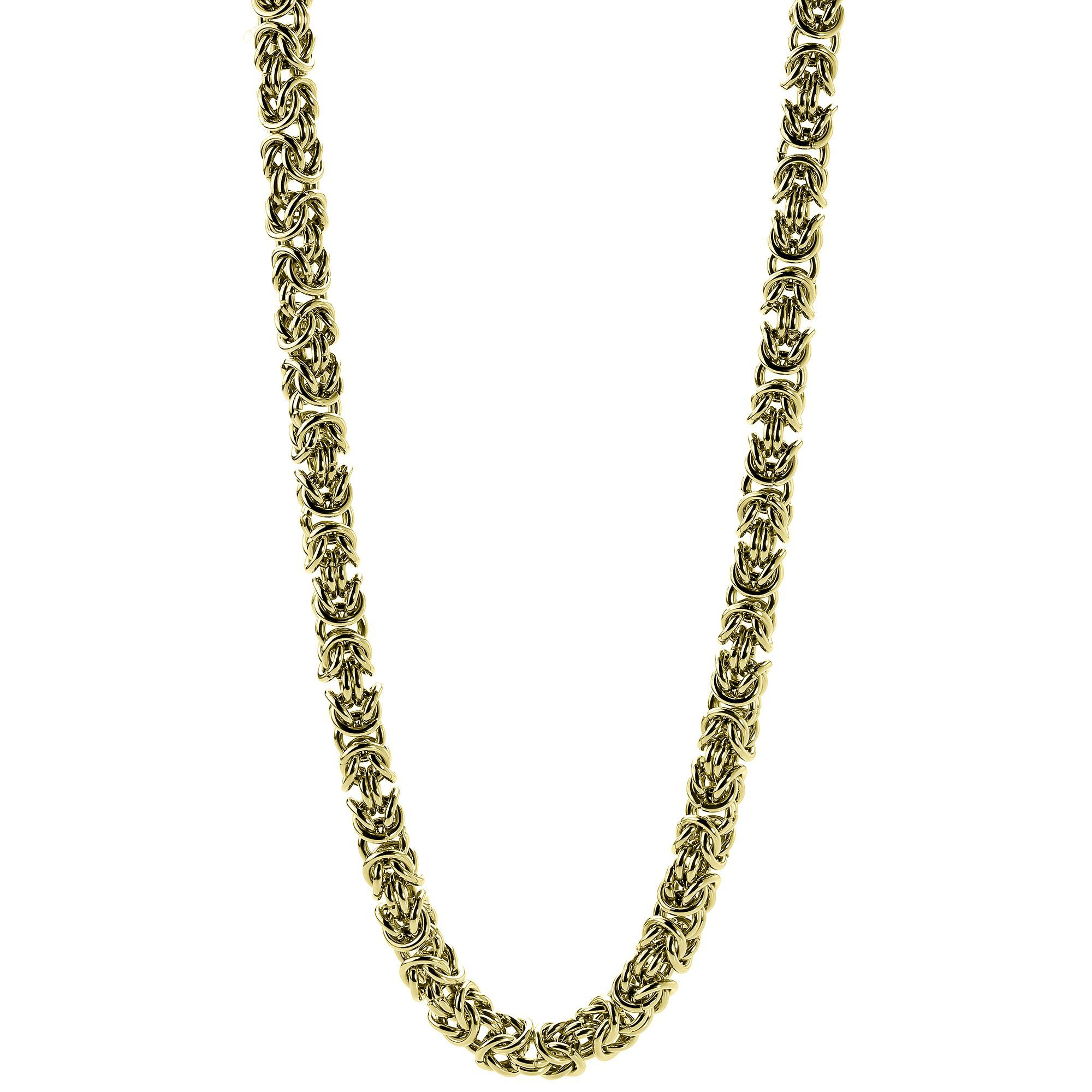 Gold Ion-plated Stainless Steel Men's 7-mm Byzantine Link Necklace (Byzantine Necklace with Gold IP), Size: 18 Inch, White