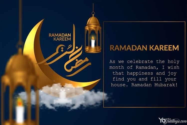 Golden Ramzan Mubarak Greetings Card Images Maker Ramadan Wishes Messages Ramadan Cards Ramadan Wishes