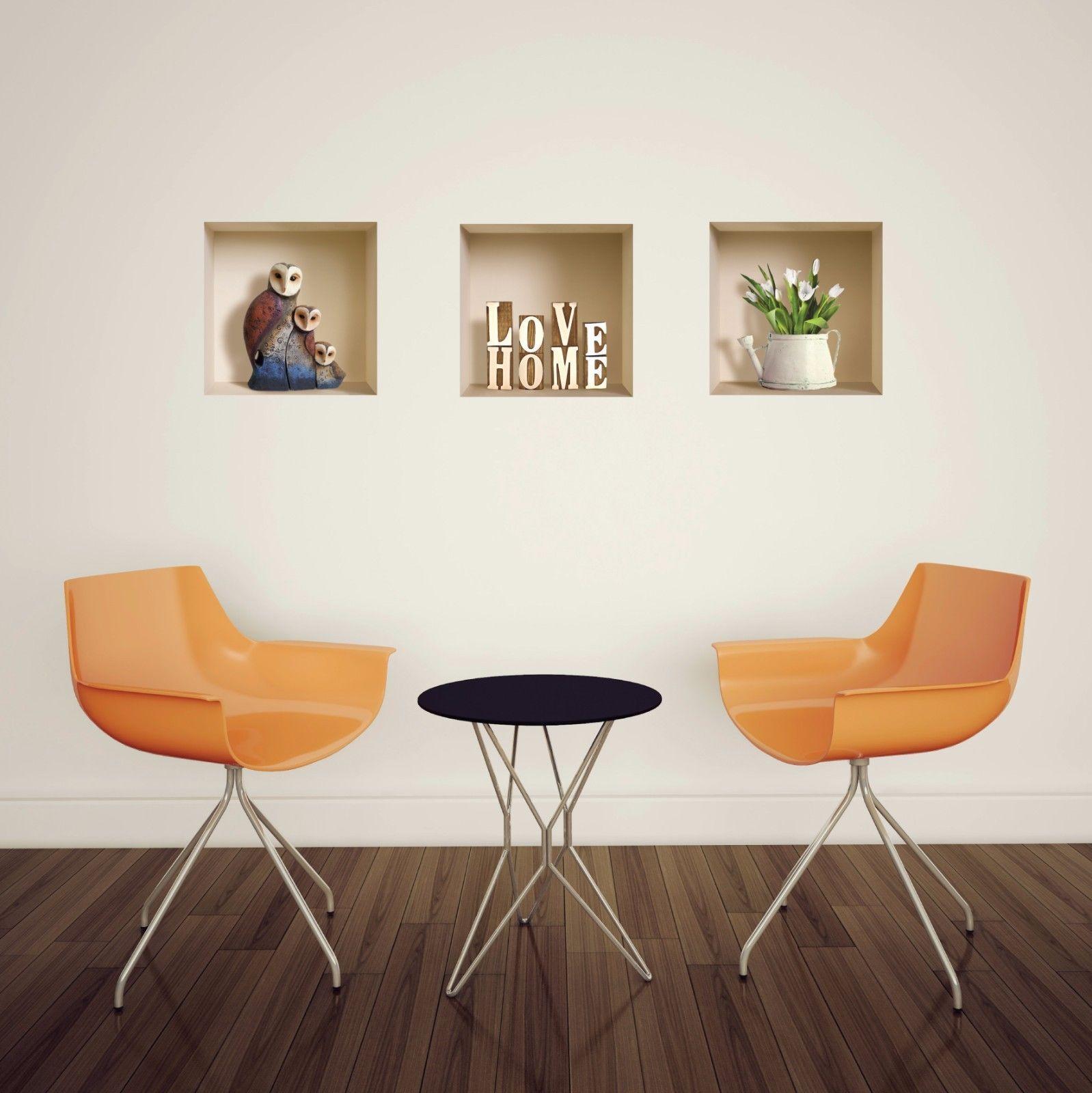 Set art brown owls wall stickers d picture vinyl removable tile