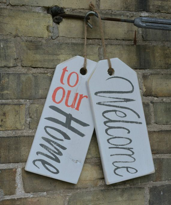 Welcome To Our Home Front Door Decoration By Moonendavisdesign Wooden Tags Wood Tags Door