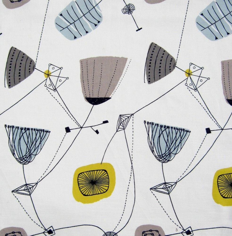 Shop robots 1950 s curtain fabric photo fifties curtains 1950s fifties - Image Of Lucienne Day Perpetua Fabric 1950s Heals