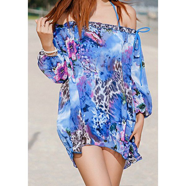 Wholesale Sweet Scoop Neck 3/4 Sleeve Printed Three-Piece Women's Swimsuit Only $13.00 Drop Shipping | TrendsGal.com