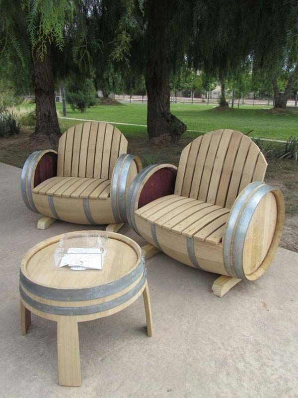 wine barrel chair wedding cover hire lake district old 26 awesome outside seating ideas you can make with recycled items