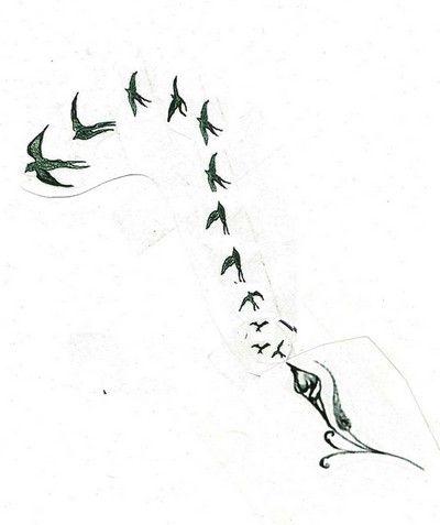 Etude passage de fleur à oiseaux avec mouvement. Dessin réalisé par ...