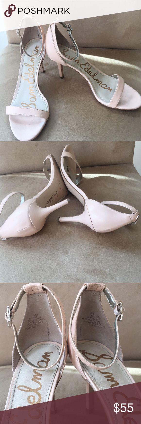 7e30b9b1fd3 Sam Edelman Leather Patti sandals Sam Edelman patti ankle strap sandals. 3  inch heels. Used but in good condition. Nude color which matches with any  outfit.