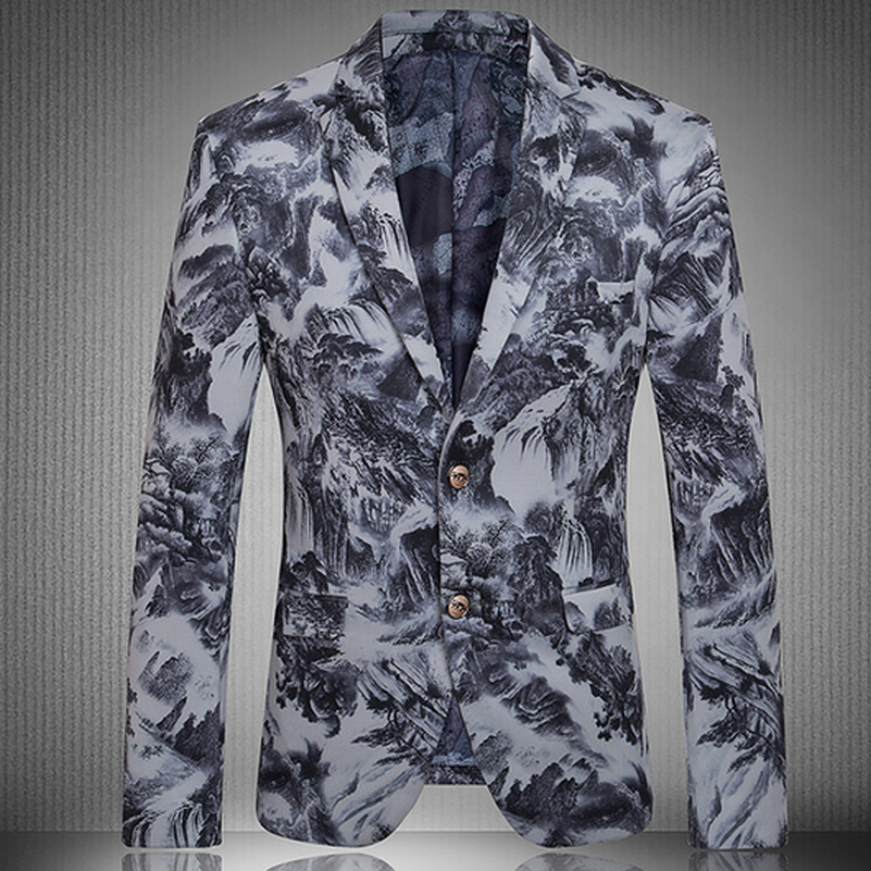 Landscape Print Italy Style Slim Fit Men's Blazers Fashion Party Stage Leisure Costume Homme,High Quality costume coffee