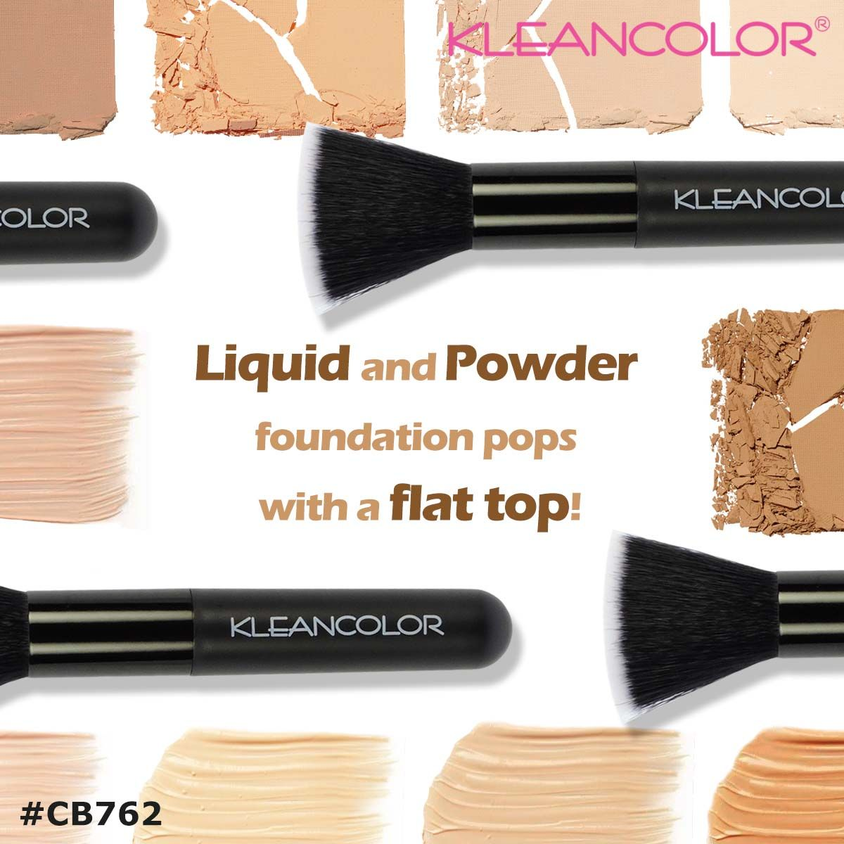 Our super soft Flat Top Brush (CB762) sits flush against the skin and buffs in liquid or powder foundation evenly and flawlessly!