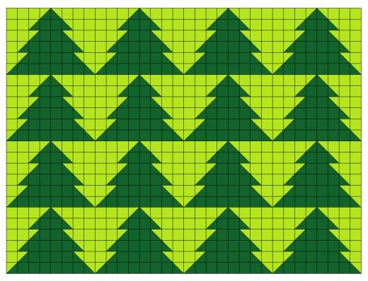 Tessellating Christmas tree or fir tree quilt pattern.
