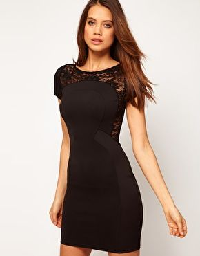 Enlarge TFNC Bodycon Mini Dress with Lace Side