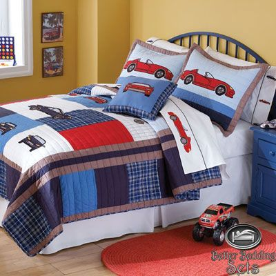Boy Children Kid Red Race Car Cotton Quilt Collection Bedding Set ...
