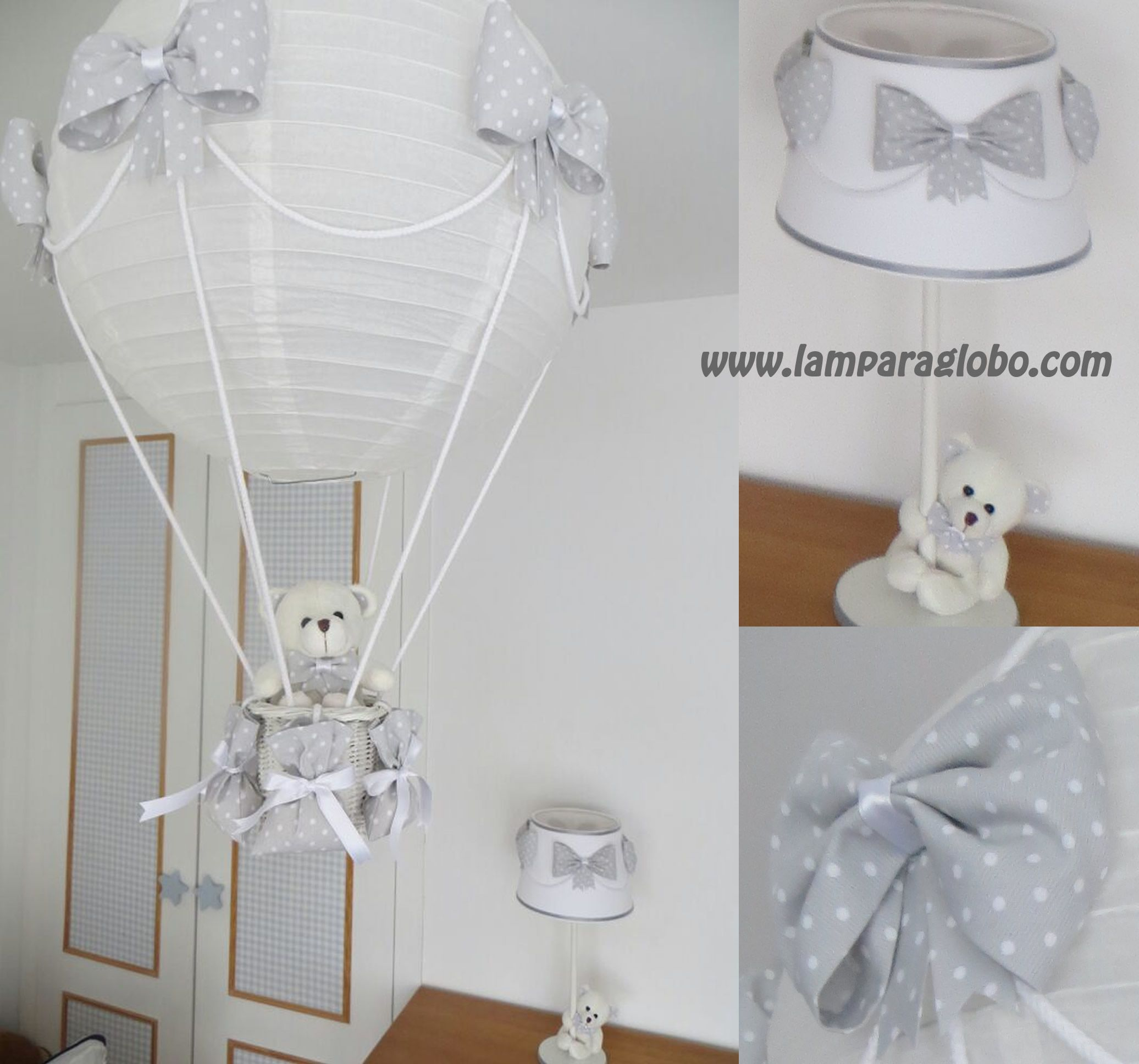 conjunto lampara globo mas lampara mesilla gris topitos
