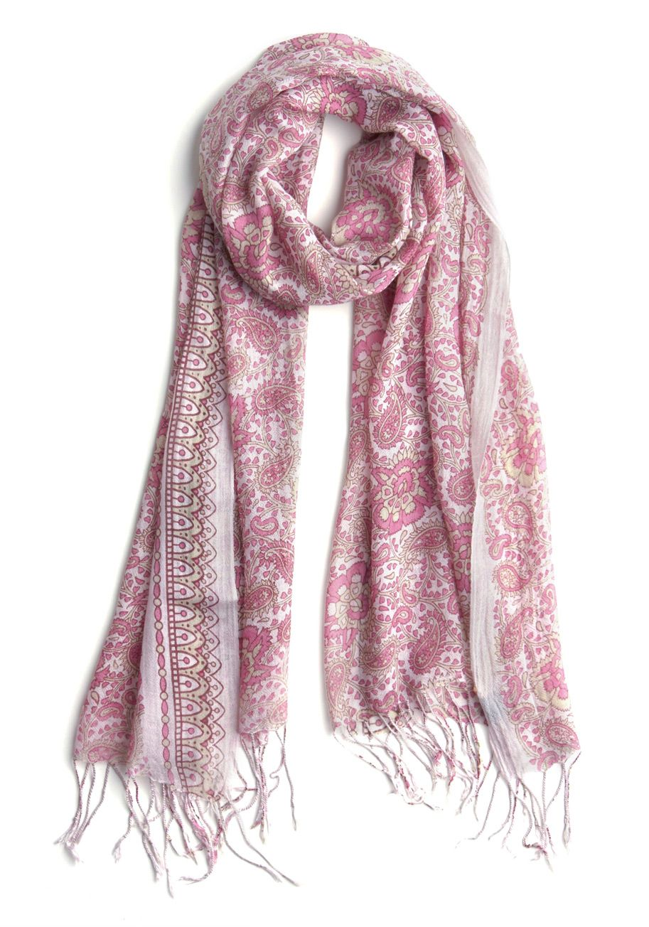 fcd1f87a8 Paisley Yourself Scarf - Pink, White, Tan / Cream, Floral, Paisley,  Fringed, Casual, Spring, Summer