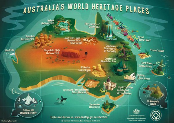 Australias world heritage places poster by marco palmieri via the department of environment heritage and the arts wanted to raise school childrens awareness of australias world heritage listed sites gumiabroncs Gallery