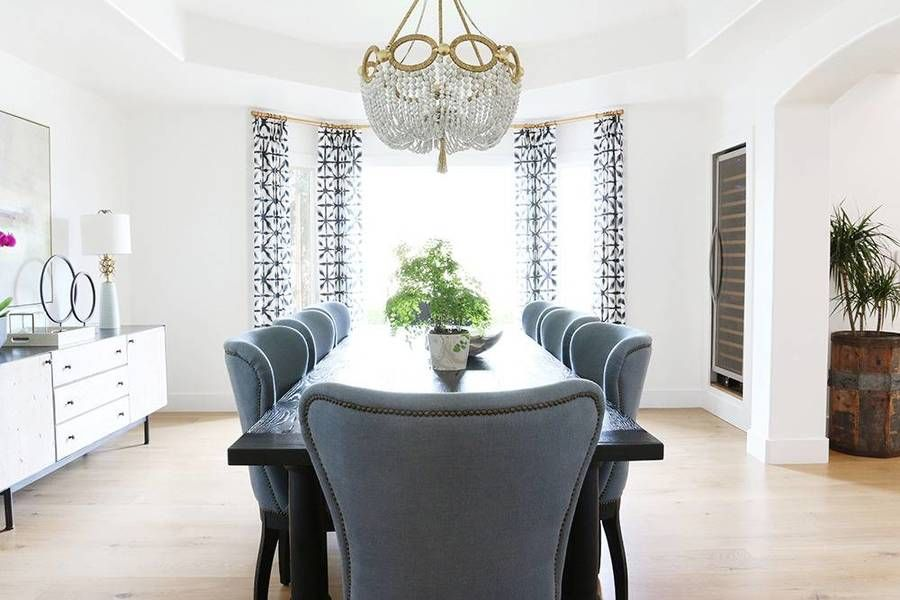 Dining Room Featuring Drapes In Schumacher Andromeda Designed By Studio McGee