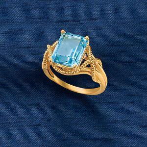14K Gold Over Sterling Blue Topaz Ring - Fashion Jewelry, Sterling, Gemstones, Pearls, Earrings, Necklaces, Rings & Bracelets