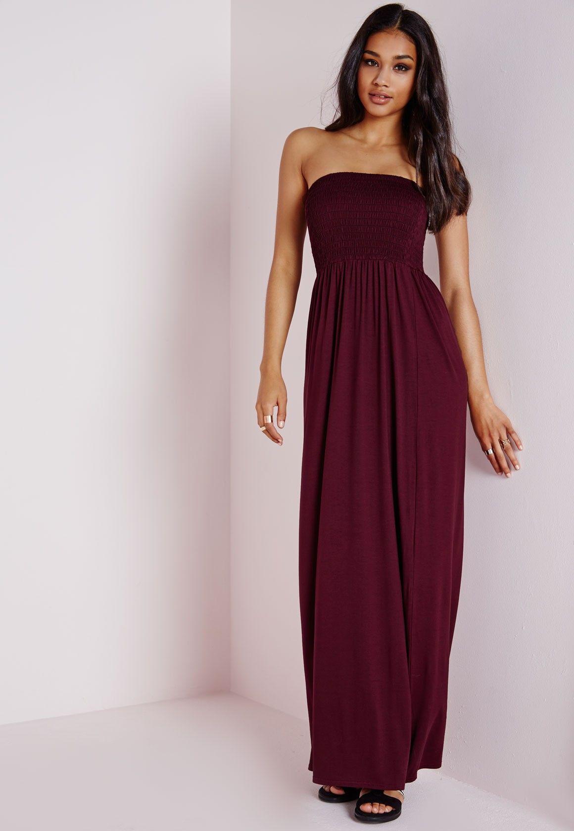 fc79d24bcc3 Missguided - Shirred Jersey Maxi Dress Plum