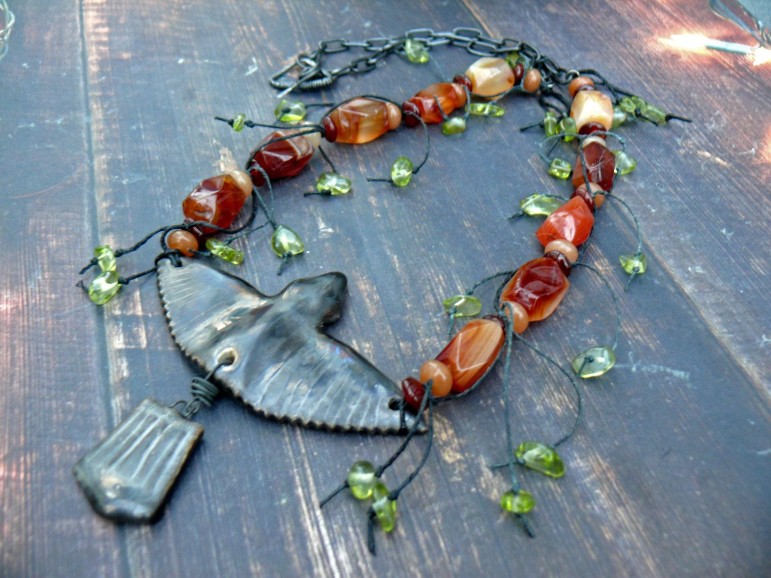 RESERVED for ANNE - Bye bye Blackbird - OOAK special commission blackbird, carnelian, peridot and black metal necklace. by PreciousViolet on Etsy