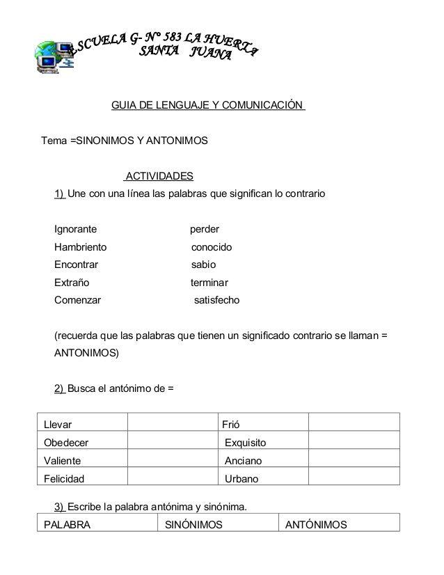 Guia De Lenguaje Y Comunicacion Tema Sinonimos Y Antonimos