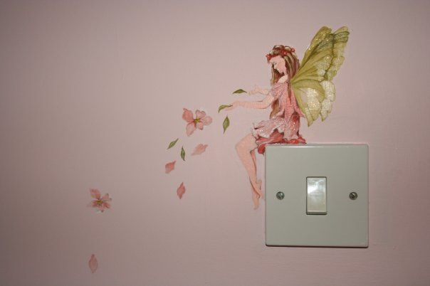 Detail of fairy bedroom mural home pinterest fairy for Fairy wall mural