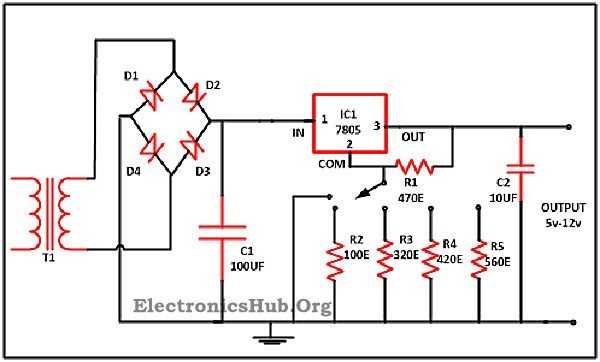 variable voltage power supply from fixed voltage regulator circuit diagram and working of variable voltage power supply from fixed voltage regulator voltage regulator