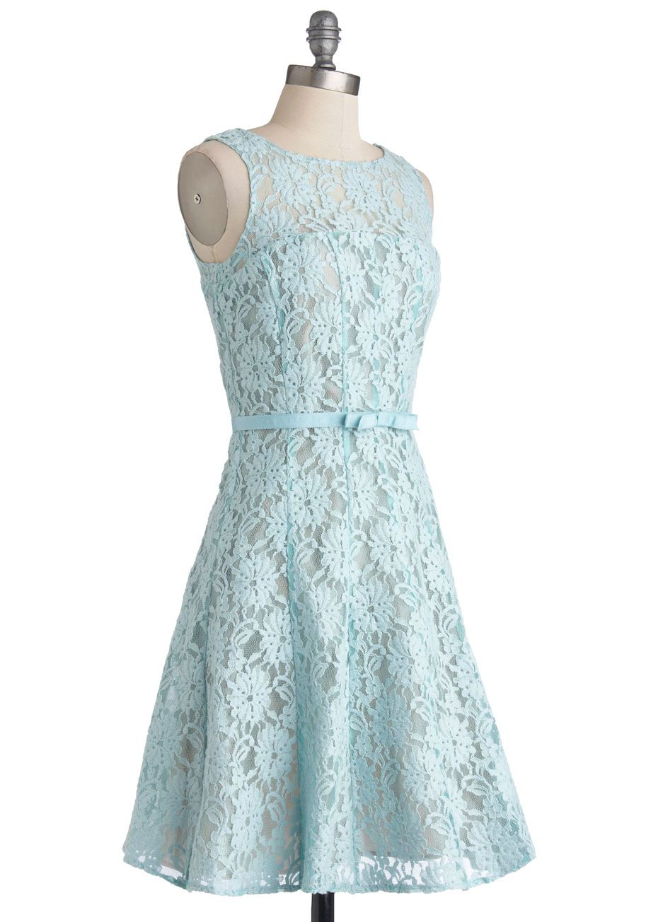 Green short dress for wedding  Make Way for Winsome Lace Dress in Navy  ModCloth Vintage dresses