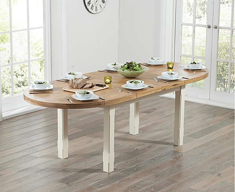 Oak And Cream Extending Dining Table