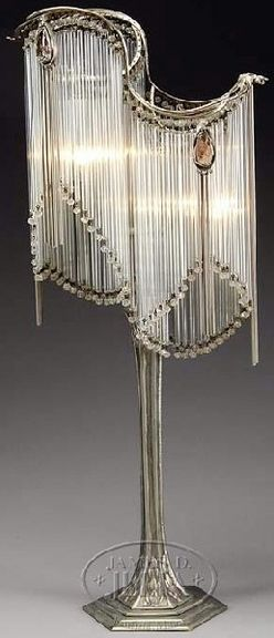 Table Lamp; Art Nouveau/Deco, Jeweled & Prism, Amethyst Cabochons, Silver Base, 31 inch.