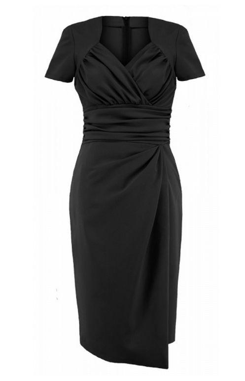 6325f058c88 Charmante robe portefeuille à manches courtes Robe Portefeuille Noire