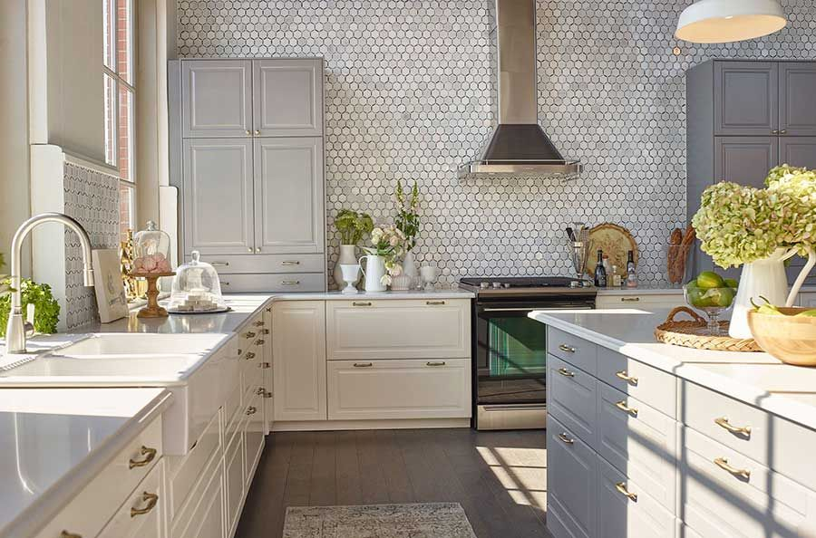 jillian kitchen design using birth white u0026 gray bodbyn cabinets in ikeau0027s house of kitchens competition