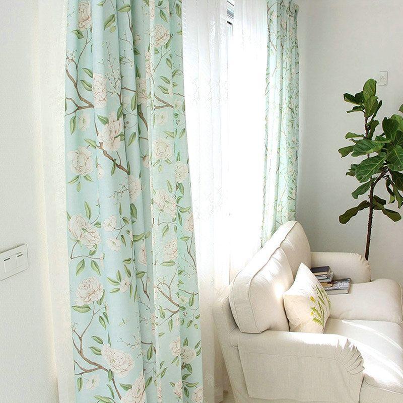 Uberlegen Landhaus Vorhang Blau Grün Blumenzweig Aus Leinen Im Wohnzimmer
