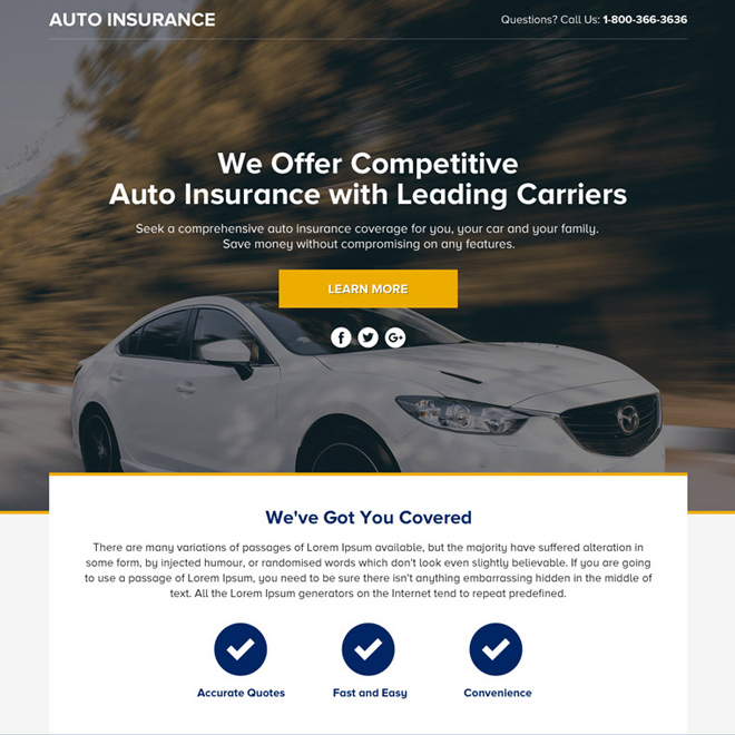 Download The Best Auto Insurance Lead Funnel Responsive Landing
