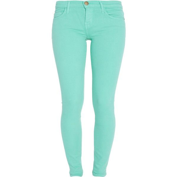 CURRENT/ELLIOTT Ankle Skinny Colored Jeans (120 CAD) ❤ liked on Polyvore featuring jeans, pants, bottoms, calças, 80s jeans, 80s skinny jeans, skinny jeans, blue jeans and denim skinny jeans