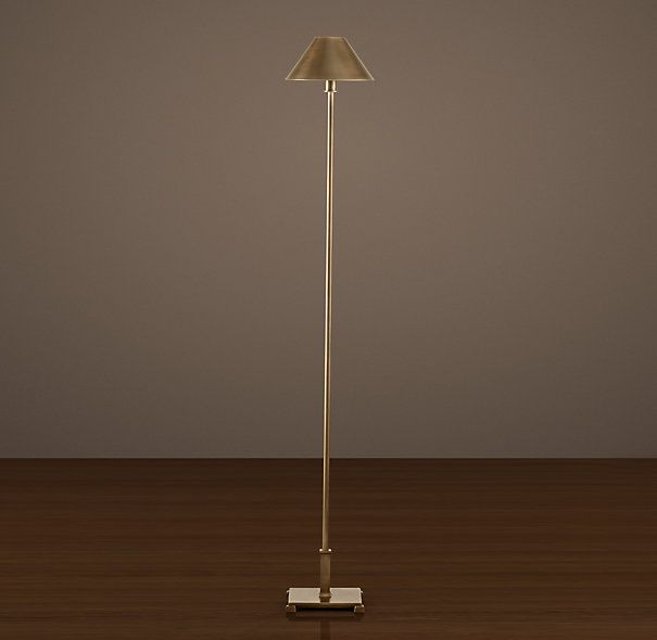 Petite Candlestick Floor Lamp - Vintage Brass with Metal Shade ...