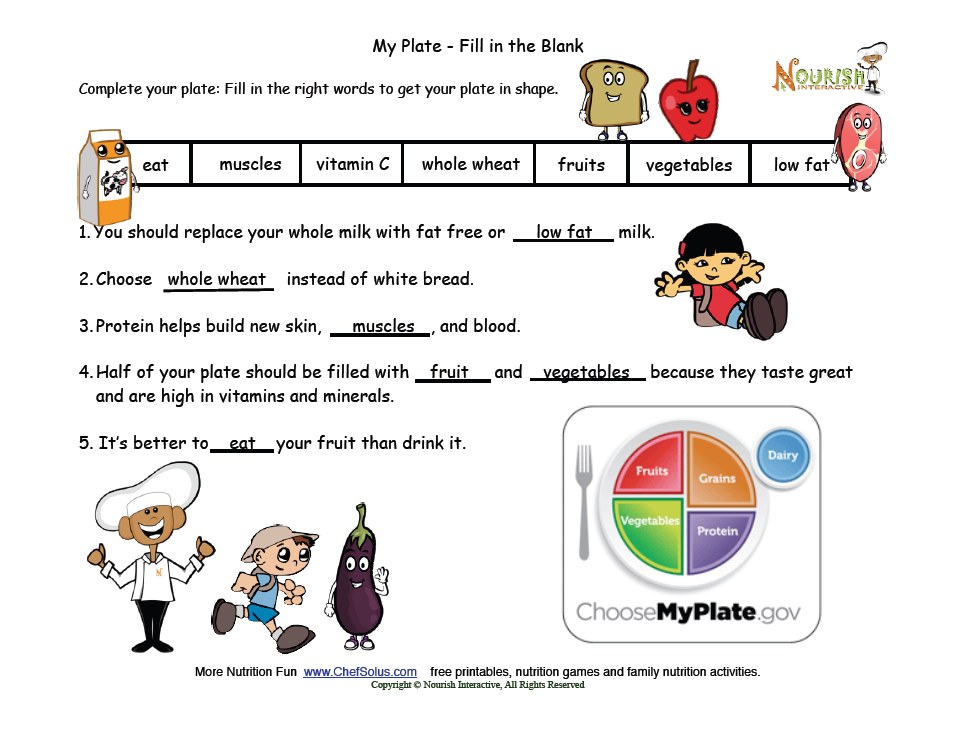 My Plate Fill in the Blank Answer Key Healthy tips for