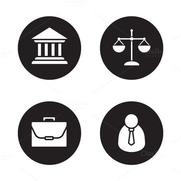 Law black icons set. Vector  @creativework247