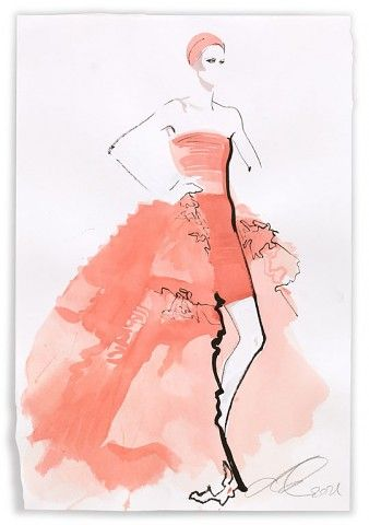 Illustration by David Downton (Giambattista Valli Couture)