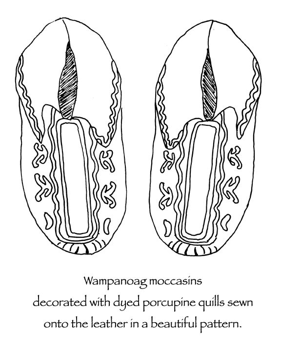 Wampanoag Native American Indian Moccasins Decorated With Dyed