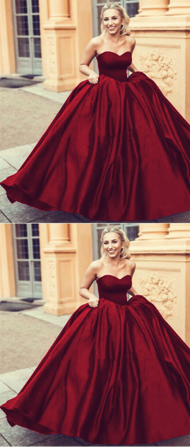 Wine Red Sweetheart Ball Gowns Satin Wedding Dresses 2019 Wedding Dresses Satin Ball Gowns Red Wedding Dresses
