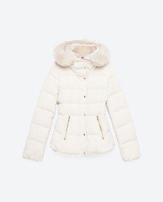 Puchowa Kurtka Zara M Biala Ecru 6710295501 Oficjalne Archiwum Allegro Outerwear Jackets Zara Anorak