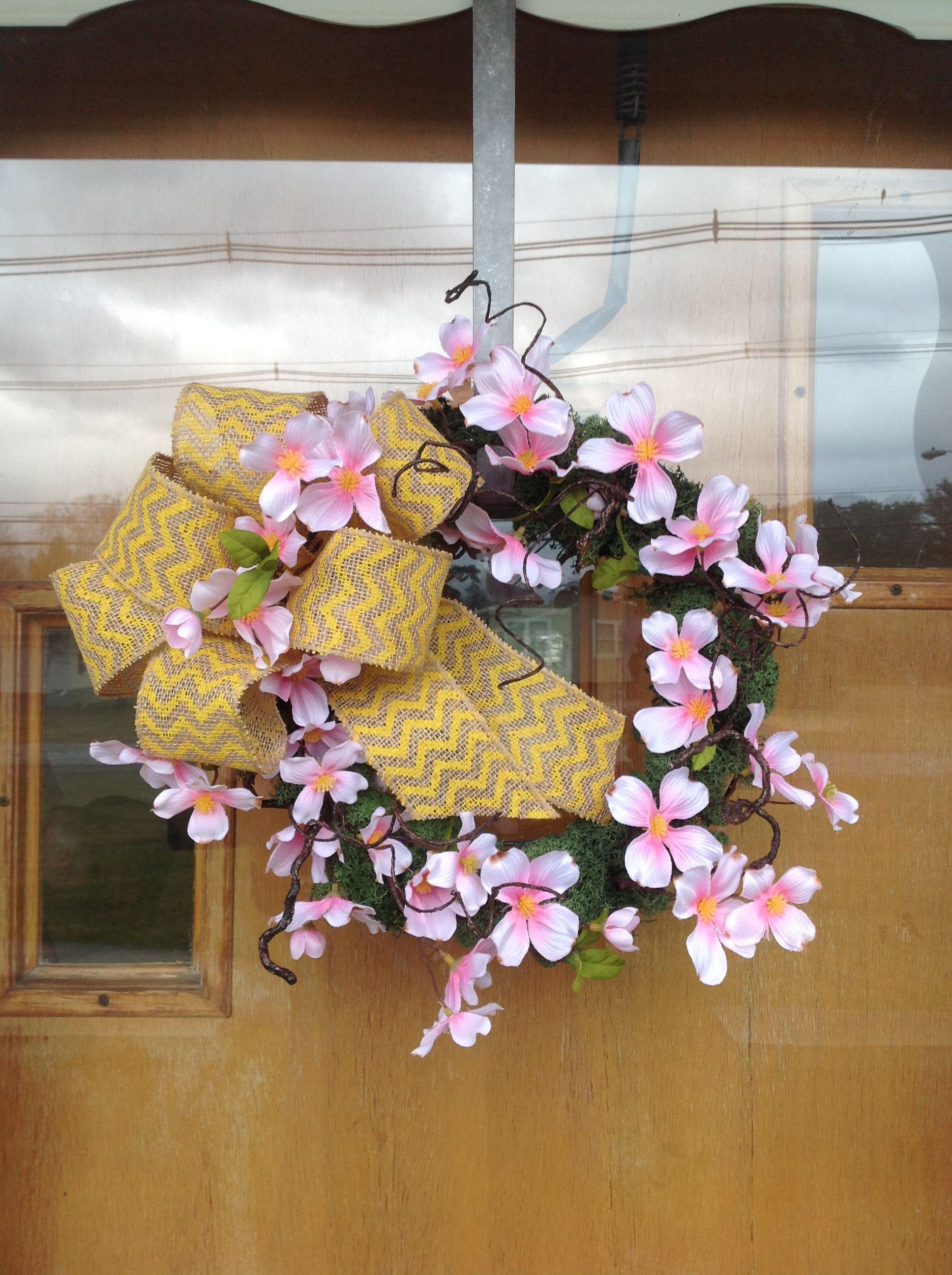 Spring Wreath Pink Dogwood Blooms Silk Flower Design Arrangement
