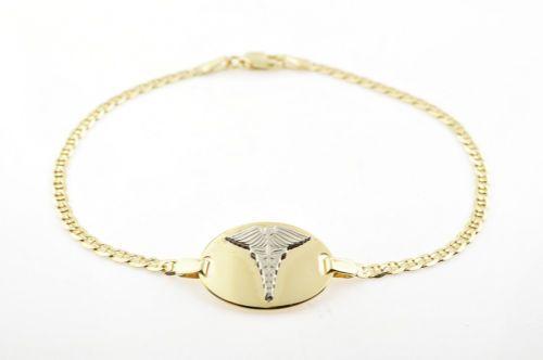 10k Gold Medical Medic Id Alert Bracelet Italian Made 7 5 Inches Free Engraving Alert Bracelet Gold Bracelets