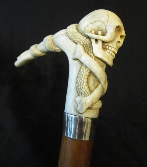 Stag Handle Skull And Snake Walking Stick Canes Walking