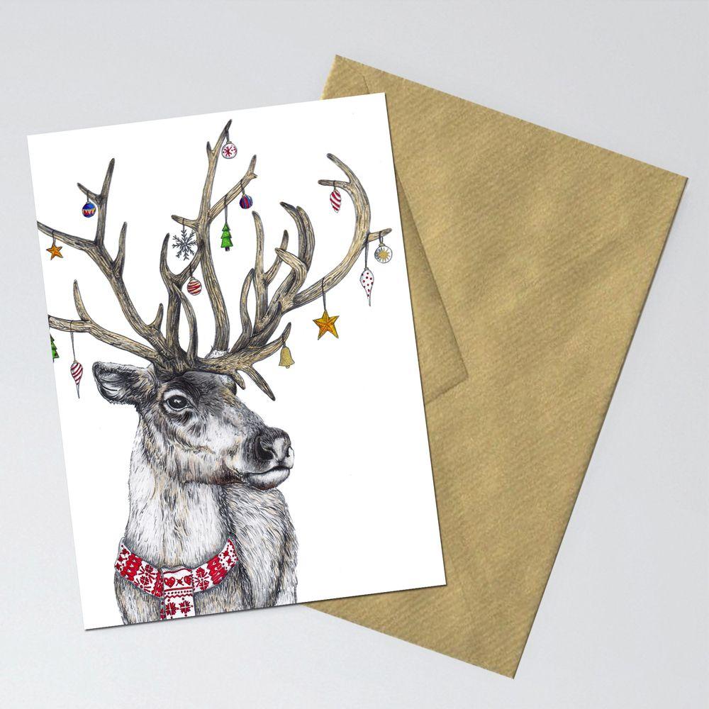 Christmas Reindeer greetings card